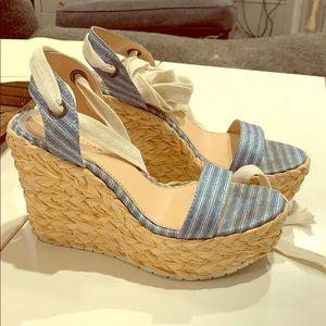 Zara blue glitter wedges